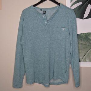 Volcom Men's Blue Green Heathered V Neck Sweater